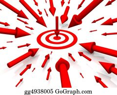 Bullseye - Row Red Target With Arrow On White