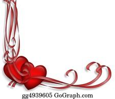 Valentine-Border-Hearts-Frame - Valentine Hearts And Ribbons