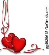 Valentine-Border-Hearts-Frame - Valentine Hearts And Ribbons Border