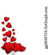 February - Valentine Falling Hearts Border