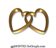 Golden-Love-Hearts - Gold Hearts Linked 3d Graphic