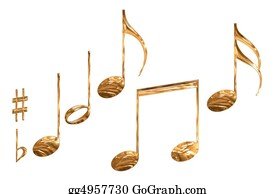 Musical-Notes - Set Of Gold Pattern Musical Note Symbols Isolated