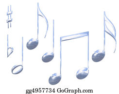 Musical-Notes - Set Of Chrome Metal Musical Note Symbols Isolated