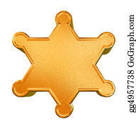 Badge - 3d Golden Pattern Sheriff's Badge Concept Over White Background