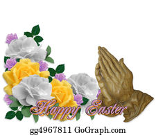 Christ-Is-Risen - Easter Card  Roses Praying Hands