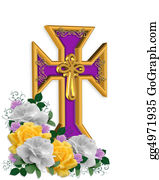 Christ-Is-Risen - Easter Cross And Flowers Background