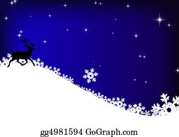 Falling-Snow-Background - Stars, Reindeer And Snowflakes On Blue Sky Background
