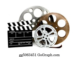 Movie-Production - Movie Production Clapper And Film Tins On White
