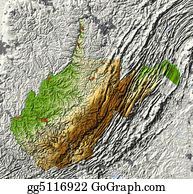 Map-Of-West-Virginia - West Virginia. Shaded Relief Map