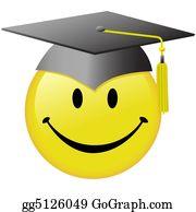 Graduation - Happy Graduation Smiley Face Graduate Cap Button