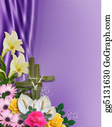 Christ-Is-Risen - Easter Flowers Border With Cross