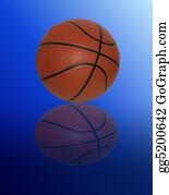 Basketball-Hoop - Basketball On Gradient Blue Background