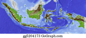 Indonesia - Indonesia, Shaded Relief Map