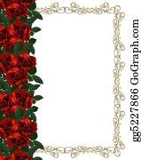 Valentine-Border-Hearts-Frame - Red Roses Border Invitation
