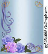 Valentine-Border-Hearts-Frame - Wedding Invitation Blue And Lavender