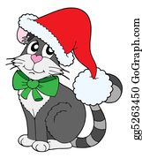 Christmas-Animal - Cat In Christmas Cap