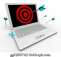 Bullseye - Hitting Bullseye On Computer Laptop