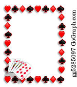 Spade - Playing Cards Poker Border Royal Flush