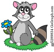 Furry-Tail - Cartoon Racoon With Flower