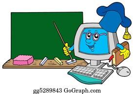 Professor - Computer Teacher With Blackboard