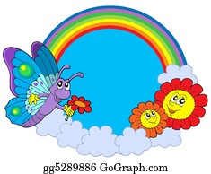 Heavenly - Rainbow Circle With Butterfly And Flowers