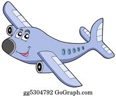Clip Art Vector - Earth and airplane cartoon . Stock EPS ...