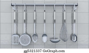 Utensils - Kitchen Utensils On A Rack