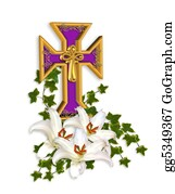 Catholics - Easter Cross And Lilies