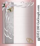 Pink-Rose - Wedding Invitation Border Satin