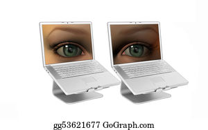 Eyelid - Girl Eyes On A Laptop Screens Isolated On A White