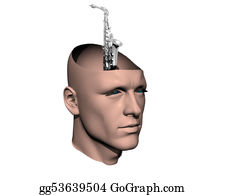 Sax - 3d Men Cracked Head With Sax
