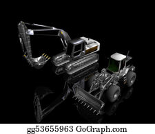 Hydraulic - Heavy Building Bulldozer And Excavator On A Black