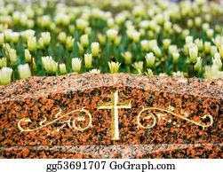 Headstone - Cross On Gravestone With Flowers