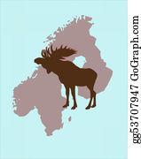 Antler - Elk With Christmas Caps On Its Antlers In Scandinavia