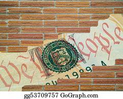 Bank-Vault - Brick Wall Hole Showing Money Detail