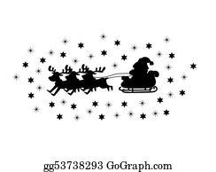 Reindeer-Christmas-Silhouettes - Santaâ´s Sleigh Background