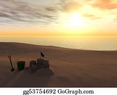 Spade - Bucket, Spade And Sand Castle On A Beach At Sunset.