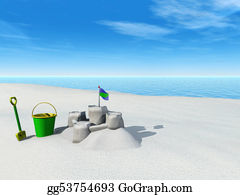Spade - Bucket, Spade And Sand Castle On A Beach.