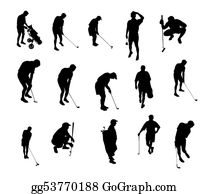 Obstacle-Course - Golf Playing Silhouettes