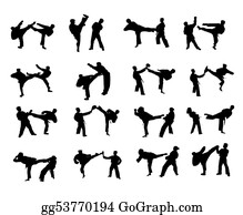 Karate - Isolated Karate Fighting Silhouettes