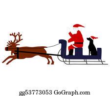 Reindeer-Christmas-Silhouettes - Santa Claus With Santa Dog In His Reindeer Sleigh