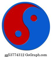 Rudeness - Isolated Ying Yang Sign Red Blue