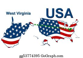 Map-Of-West-Virginia - Usa State Of West Virginia In Stars And Stripes Design