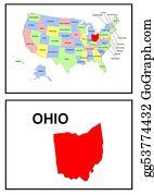Map-Of-Kansas-Usa - Usa State Of Ohio