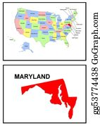 Map-Of-Kansas-Usa - Usa State Of Maryland