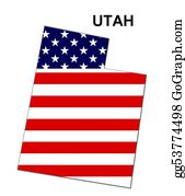 Map-Of-Kansas-Usa - Usa State Of Utah In Stars And Stripes Design