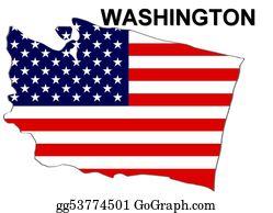 Map-Of-Kansas-Usa - Usa State Of Washington In Stars And Stripes Design