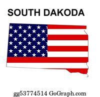 Map-Of-Kansas-Usa - Usa State Of South Dakota In Stars And Stripes Design