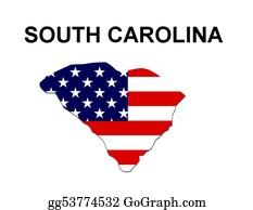 Map-Of-Kansas-Usa - Usa State Of South Carolina In Stars And Stripes Design