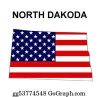 Map-Of-Kansas-Usa - Usa State Of North Dakota In Stars And Stripes Design
